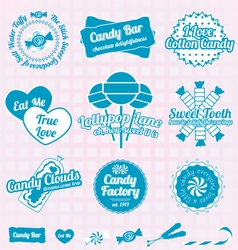 Candy shop labels and icons vector