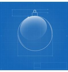 Christmas ball symbol like blueprint drawing vector image vector image
