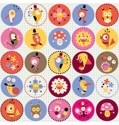 cute characters pattern vector image vector image