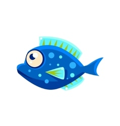 Dark blue spotted fantastic aquarium tropical fish vector