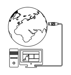 global hosting data center icon vector image vector image