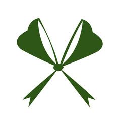 Green bow ribbon decoration xmas celebration vector