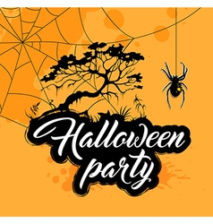 Halloween background with silhouette of tree vector image