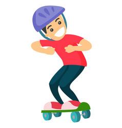 happy caucasian white boy riding a skateboard vector image vector image
