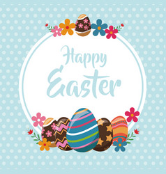 happy easter eggs decoration poster vector image vector image