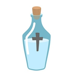 Holy water bottle glass flask with magic liquid vector