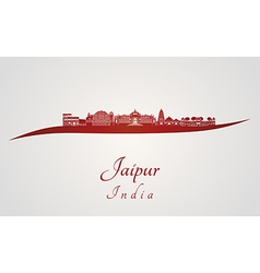 Jaipur skyline in red vector image vector image
