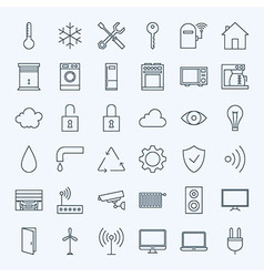 Line home technology icons set vector