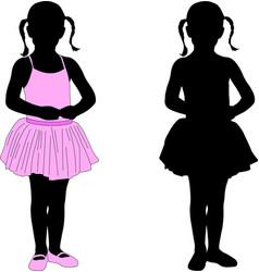 Little ballerina posing silhouette vector