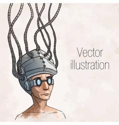 Man wearing a brain-control helmet digital vector