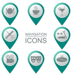 Navigation icons bulk silhouette public places vector