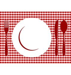 Place Setting red tablecloth vector image