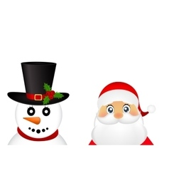Santa Claus and Christmas snowman on a white vector image vector image