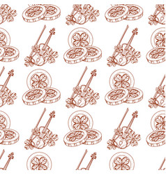 Seamless pattern with violins and three golden vector