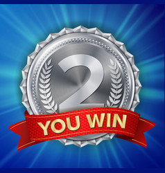 silver medal silver 2nd place badge vector image vector image