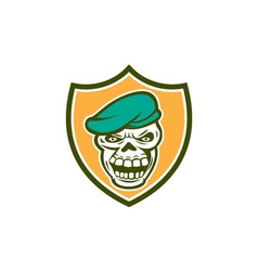 Skull Beret Shield Retro vector image vector image