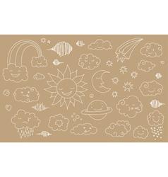 sky doodles line 4 vector image vector image