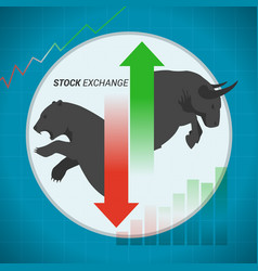 stock market concept bull vs bear with up and vector image