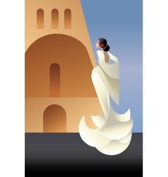 Styled spain flamenco dancer on sity landscape vector