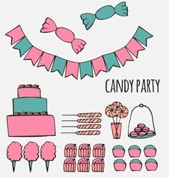 Sweets and candies party ideas vector