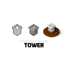 Tower icon in different style vector image vector image