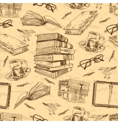 Vintage books seamless pattern vector image