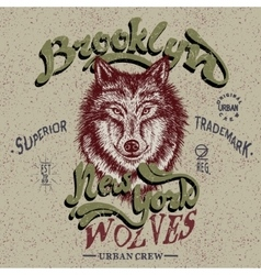 Vintage trademark with wolf vector