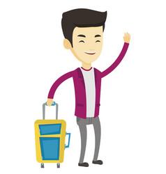 young man hitchhiking vector image vector image
