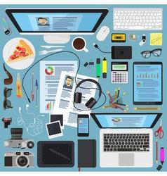 Top view desktop flat design design elements vector