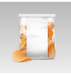 White transparent bag with potato ripple chips vector
