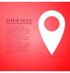Map pin flat icon on red background Adobe vector image