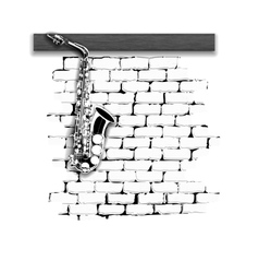 Musical instruments saxophone on the brick wall vector