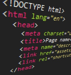 CSS and HTML code vector image
