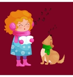Girl and dog singing christmas songs and jingle vector
