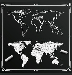 Chalkboard sketch of hand drawn world map vector