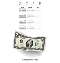 2016 money calendar vector