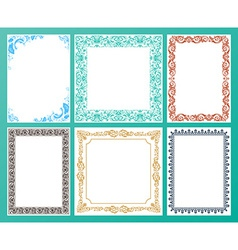 Color set ornate frames and vintage scroll vector