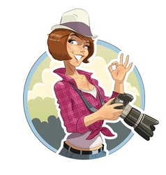 Photographer girl with camera vector