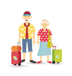 Old couple summer holiday grandparent travel flat vector