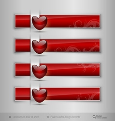 Black tabs with glossy heart modern design vector