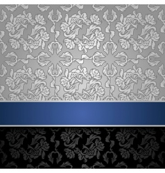 seamless decorative background silver with a blue  vector image