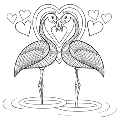 Coloring page with flamingo in love zentangle vector