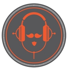 hipster DJ man icon vector image