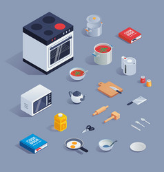 a colorful set with kitchen tools and vector image vector image