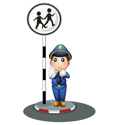 A policeman beside the street signage vector image vector image