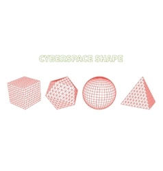 Abstract cyberspace grid landscape background vector