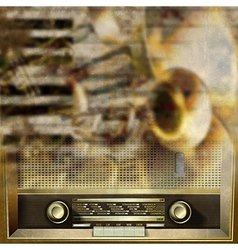 Abstract grunge background with retro radio and vector image vector image