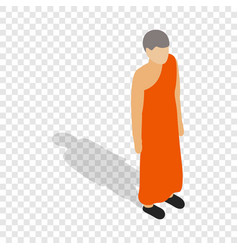 Buddhist monk wearing orange robe isometric icon vector