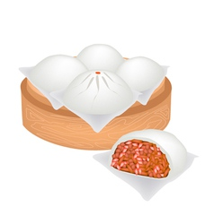 Chinese steamed pork bun on bamboo basket vector