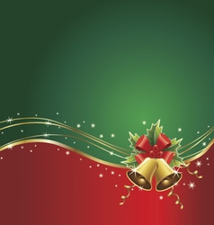 christmas background with bells ribbons vector image